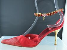 GIUSEPPE ZANOTTI AUTHENTIC Red Gold High Heel Jewel Ankle Sandal Shoes Size 37