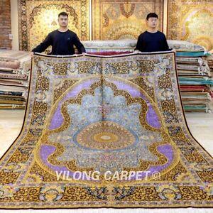 YILONG 8'x10' Purple Handmade Silk Carpet Porch Handcraft Flooring Area Rug 413A