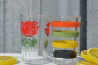 Set of 2- One Stripes and One Roses Kraft Swanky Swigs Juice Glasses