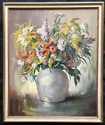 Vintage Beatrice Leonard Original floral Still Life panting lilies silver vase