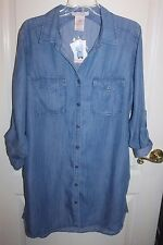 PHILOSOPHY L Tunic Shirt Dress Chambray Denim  NWT $88 Roll Tab Sleeve Large