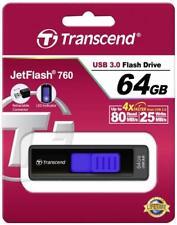 Transcend JetFlash 760 64 Go Noir Bleu 64 Go ts64gjf760 Clé USB 3.0 Nouveau neuf dans sa boîte