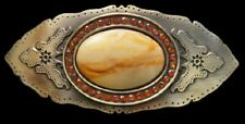 JEWELED CAT EYE ORANGE RHINESTONES ANTIQUE BRASS BELT BUCKLE BOUCLE DE CEINTURE