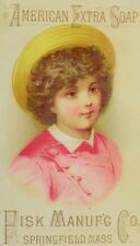 1880's-90's Pisk Mfg. Co. American Extra Soap Girl Short Curly Hair & Hat P66