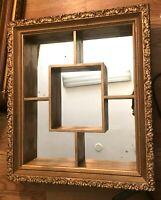 Mirror Shadow Box Curio  Framed Wall Display Shelf Wood  Mid Century Modern MCM