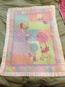 Winnie the Pooh Baby Crib Comforter Blanket Double Sided Satin Trim Piglet 31x43
