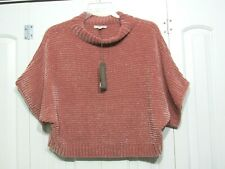 NWT NEW YORK & COMPANY EVA MENDES PINK CROP PONCHO SWEATER SZ L