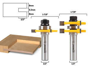 """1/4"""" Plywood 2 Bit Plywood Tongue and Groove Router Bit Set - 1/2"""" Shank - Yonic"""