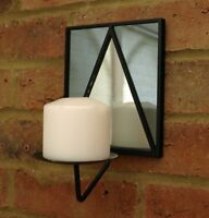 Wall Sconce Metal Mirrored Church Candle Holder Art Deco Vintage 22x14 cm New