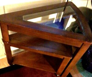 Lovely Rare, Antique Double Curved Triangular Wooden Glass Top Corner Table