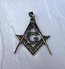 In ACCIAIO INOX CIONDOLO Masonic massonico righello compassi Stainless Steel