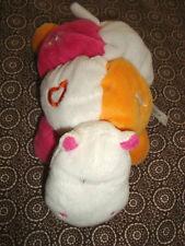 J # Doudou hippopotame blanc rose orange ABCD 22 CM TIGEX hochet TBE