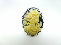 BLACK & CREAM VICTORIAN LADY BUTTERFLY CAMEO ADJUSTABLE LACE EDGE SILVER RING