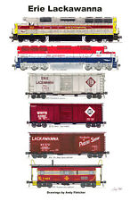 """Erie Lackawanna Erie DL&W Train 11""""x17"""" Poster by Andy Fletcher signed"""