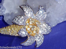 "Crystal Flower Pin / Brooch New Kjl ""Kenneth Jay Lane"" Pave"