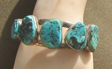 Very impressive Bracelet Crafted by JR, Five Turquoise Free-forms Set in Sterlin