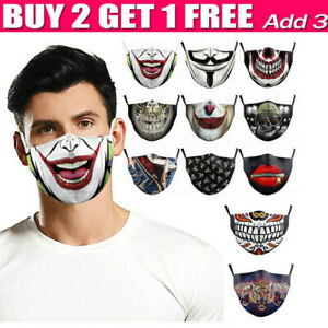 Mouth Face Mask Cover Anti-dust Washable Adult Reusable Joker Skull Rose Teeth