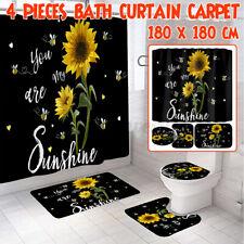 1/3/4 Pcs Sunflower Printing Bathroom Shower Curtain Toilet Cover Mat Bathroom