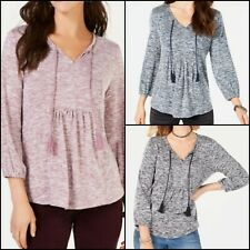 Women's Style & Co Pleated Tassel-Tie Top, Varies Colors & Sizes- NWT