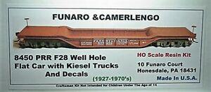 Funaro F&C HO PRR F28 Well Hole Flat car with Kiesel Trucks  Kit  8450