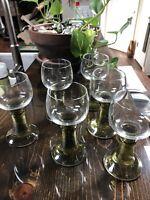 Lot 6 Vintage Mid Century Stem Champagne Wine Glasses Stemware Barware Goblets