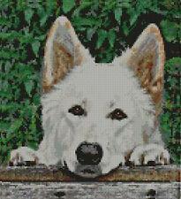 "White Shepherd Fence Cross Stitch Kit 9"" x 10"" D2145"