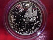 1989 Portugal Large Proof Silver 100 Esc  Discovery Azores/Ship