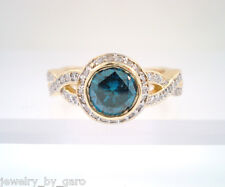 1.39 CARAT ENHANCED BLUE  DIAMOND ENGAGEMENT RING 14K YELLOW GOLD HALO PAVE