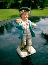 COLONIAL BOY WITH  ROSES  FIGURINE ORIGINAL STICKER HELLENIK HEMPSTEAD, NY