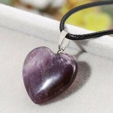 Genuine Natural 20x20mm purple Amethyst  Heart pendant necklace 18''