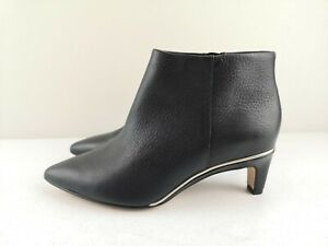 CLARKS Ladies Women Leather Black Ankle High Heel Shoe Boot Size 3 35.5 D