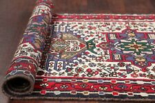 Vintage Geometric Tribal 12 ft Ivory Stair Runner Gharajeh Oriental Rug 3' x 12'