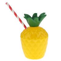 24pcs Fruit Pineapple Drink Cup Straw Hawaiian Luau Summer Beach Party Decor