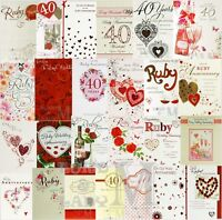 40th / Ruby Wedding / Anniversary Cards - General & Relations - Various Designs