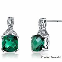 1 1/5 ct Cushion-Cut Created Emerald Stud Earrings in 18K Whte Gold Plated