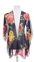 Emory Park Colorful Floral Rose Print Kimono Sheer Cardigan Jacket Womens Sz L