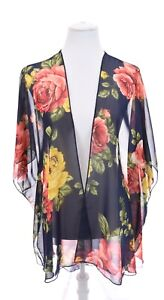 Emory Park Colorful Floral Rose Print Kimono Sheer Cardigan Jacket Womens Sz L