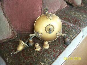 Antique 1920's Chain & Pan 3 Light Hanging Chandelier Brass Lighting Fixture