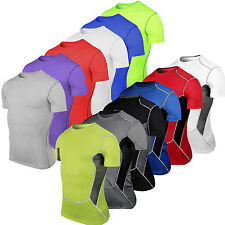 Mens Compression Short Sleeve T-Shirt Top Sports Gym Running Workout Base Layers
