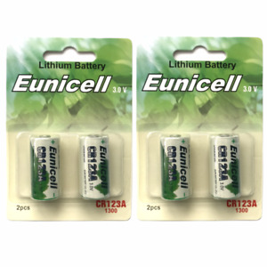 4 x CR123A Batteries 123 CR123 DL123A 3V Lithium Photo Camera Battery Eunicell