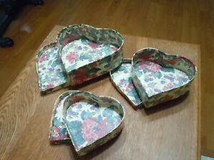 Vtg Nesting Heart Shape Stacking Boxes (3) Floral & Berries Storage Cardboard