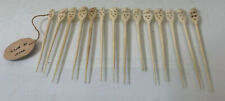 Lot of 14 -Vintage Hand Carved IVOR/Bone Seal Toothpicks from INdia w Elephants
