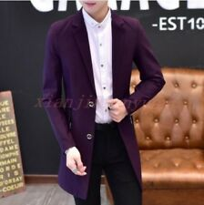 British Mens Lapel Trench Coat Slim Fit Blazer Business Formal Mid Long Jacket