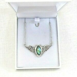 Natural Abalone Shell Sterling Silver Baroque Inspired Necklace