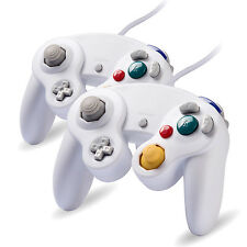 White wired game controller pad for Nintendo GameCube GC & Wii classic joypad