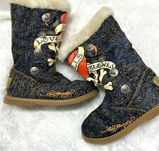 Don Ed Hardy Design Womens Size 6 US Blue Skulls Suede Faux Fur Lined Boots EUC