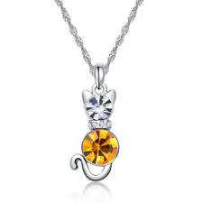 New Silver Plated Kitten Charm yellow Crystal Pendant Chain Necklace Jewelry