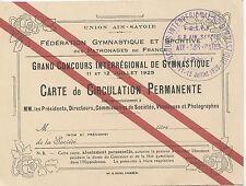 CARTE DE CIRCULATION PERMANENTE CONCOURS  DE GYMNASTIQUE 1923 AIX LES BAINS