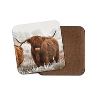 Highland Cow Coaster - Cattle Scotland Hairy Fluffy Bull Snow Winter Gift #14591