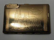 More details for vintage koln am rhein cathedral gilt cigarette case & lighter combination
